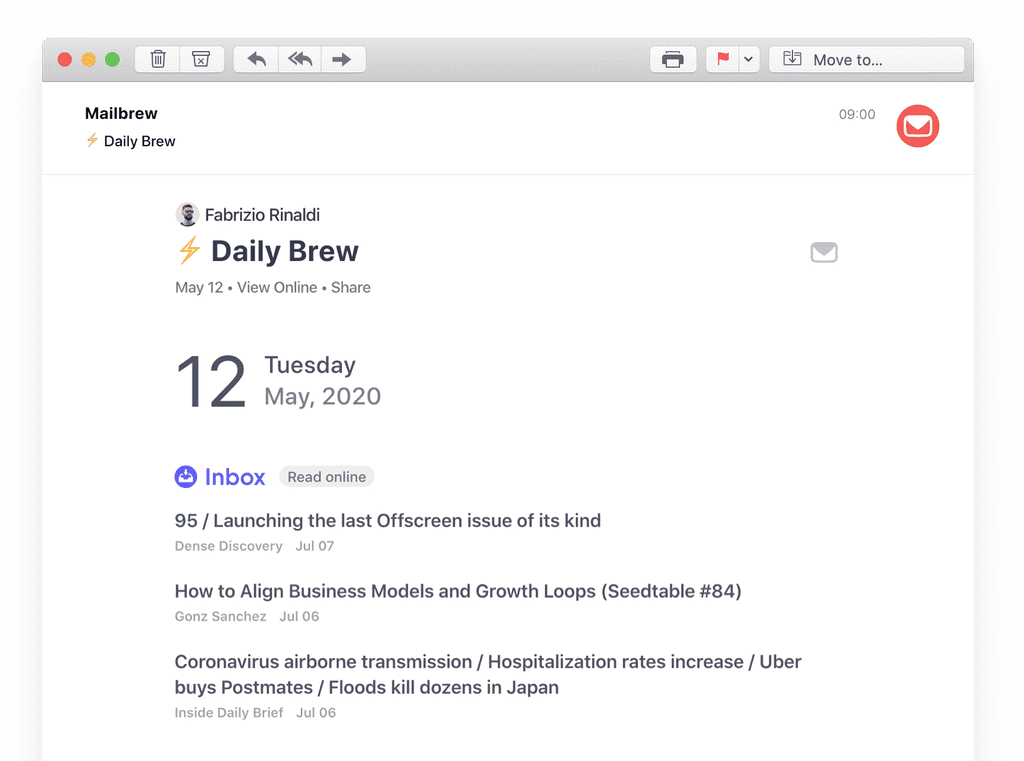 mailbrew inbox email